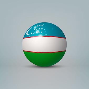 Bola de plástico brilhante realista com bandeira do uzbequistão
