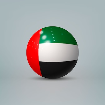Bola de plástico brilhante realista com bandeira dos emirados árabes unidos