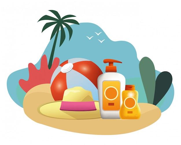 Bola de praia e sol bronzers com chapéu de verão