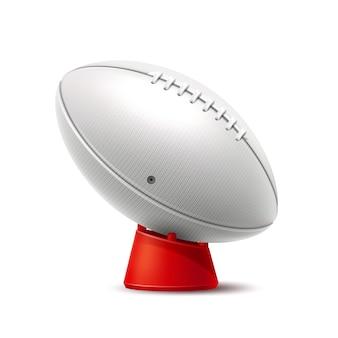 Bola de rugby branca realista equipamento de jogo de esporte de equipe