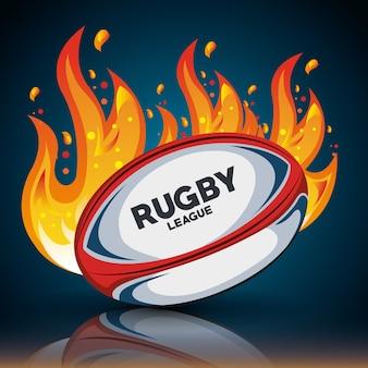 Bola de rugby com chamas e sombra