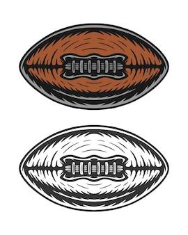 Bola de rugby de futebol americano retro vintage em xilogravura pode ser usada como etiqueta de emblema de logotipo
