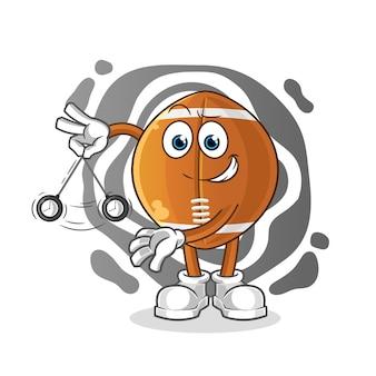 Bola de rugby hipnotizando personagem de desenho animado