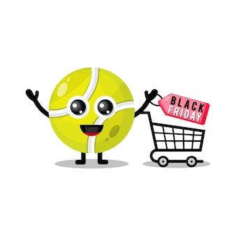 Bola de tênis comprando mascote personagem fofa de sexta-feira negra