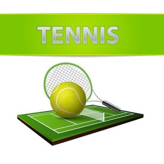 Bola de tênis e emblema de campo de grama verde