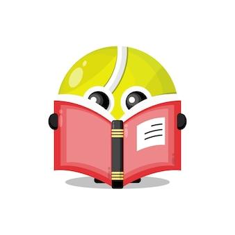 Bola de tênis lendo um livro mascote do personagem fofo