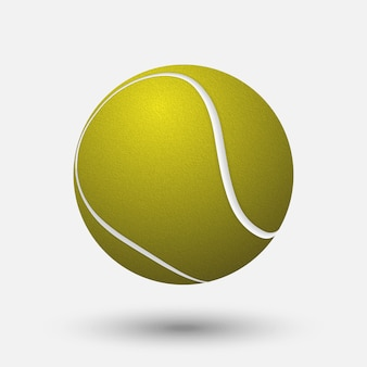 Bola de tênis realista isolada no fundo branco.