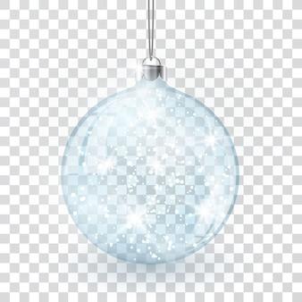 Bola de vidro de cristal de natal em fundo transparente do vetor.