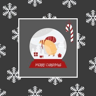 Bola de vidro de natal com um urso. cartão de ano novo com flocos de neve e um urso.