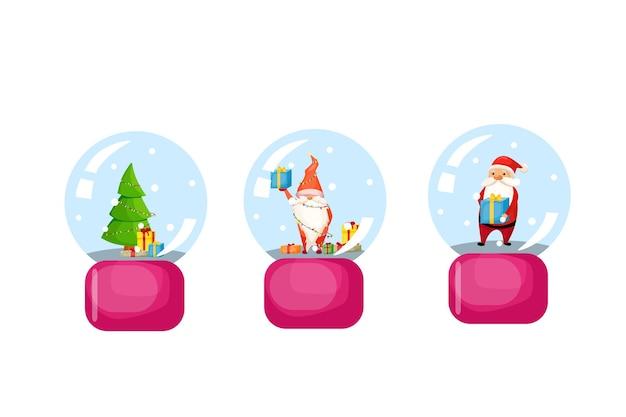 Bola de vidro de natal de vetor com neve árvore de natal papai noel e gnomo
