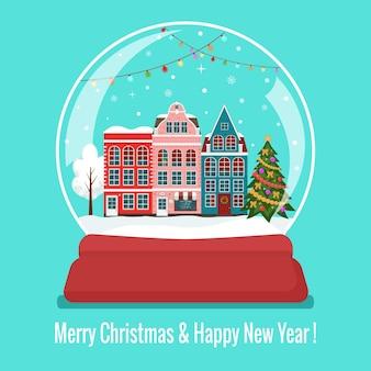 Bola de vidro de neve de natal com papai noel e árvore de natal plana
