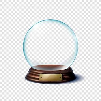 Bola de vidro em suporte de madeira