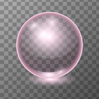 Bola de vidro transparente rosa realista, brilhar a esfera ou bolha de sopa