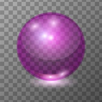 Bola de vidro transparente rosa realista de vetor, brilhar a esfera ou bolha de sopa com patch de luz. ilustração 3d.