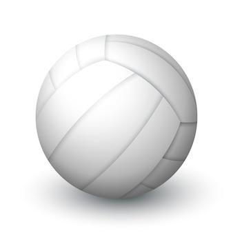 Bola de vôlei branca realista equipamento esportivo bola de couro para vôlei de praia ou pólo aquático