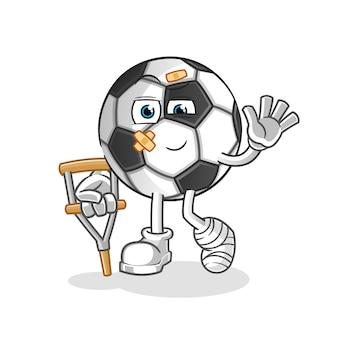 Bola doente com ilustração de personagem mancando