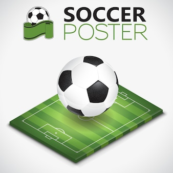 Bola e campo de futebol isométrico