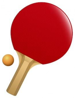 Bola e taco de tênis de mesa