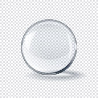 Bola esférica de vidro transparente realista em fundo xadrez