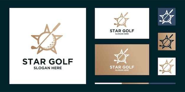 Bola estrela de golfe e logotipo do esporte