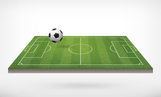 Bola futebol, em, campo futebol