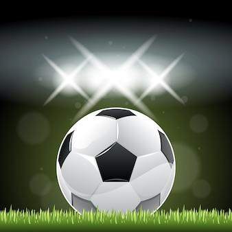 Bola futebol, em, capim, em, noturna, tempo