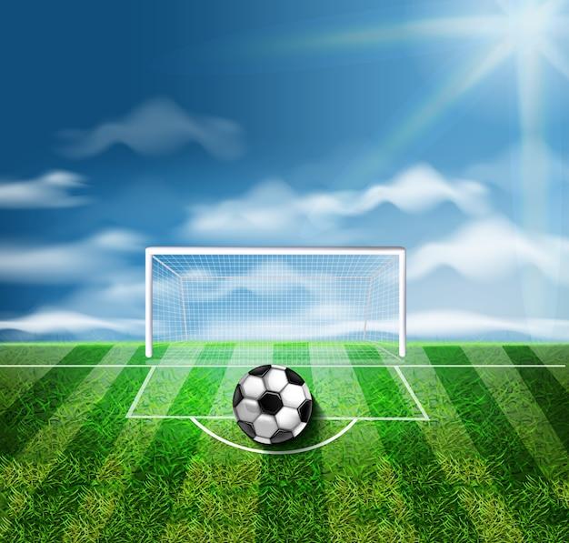 Bola futebol, ligado, verde, estádio