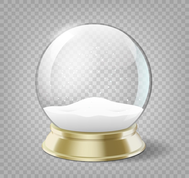 Bola globo de neve realista ano novo ou objeto de férias de natal isolado com sombra