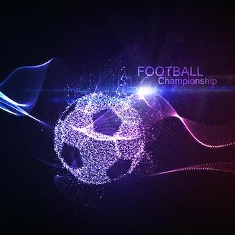 Bola iluminada de futebol abstrato e onda de néon brilhante