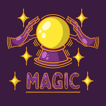 Bola mágica, adivinhação, destino, fundo roxo