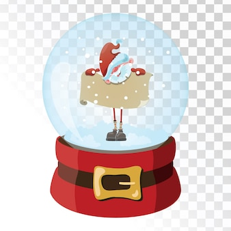 Bola mágica de vidro de natal com papai noel. esfera de vidro transparente com flocos de neve.