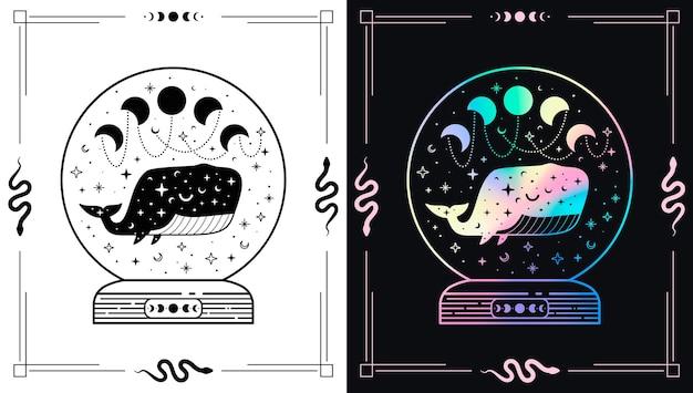 Bola mágica mística com fases de baleia celestial e lua