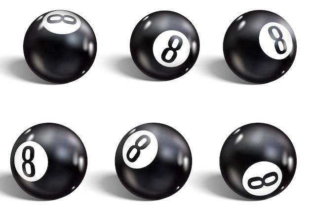 Bola oito. conjunto de 8 bola realista.