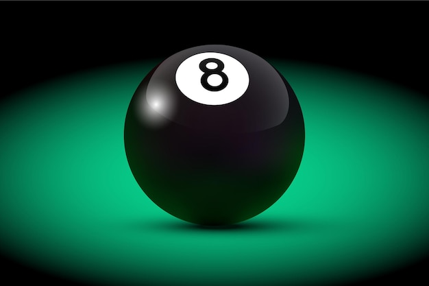 Bola oito de bilhar realista preto na mesa verde.