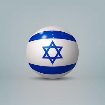 Bola ou esfera de plástico brilhante 3d realista com a bandeira de israel