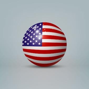 Bola ou esfera de plástico brilhante 3d realista com a bandeira dos estados unidos