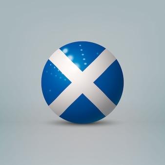 Bola ou esfera de plástico brilhante 3d realista com bandeira da escócia
