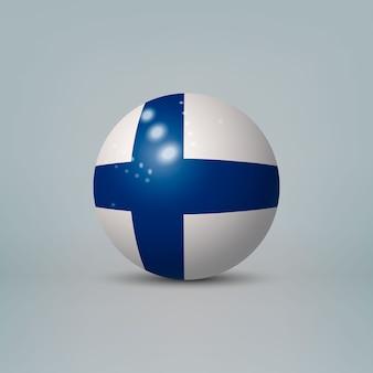 Bola ou esfera de plástico brilhante 3d realista com bandeira da finlândia