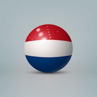 Bola ou esfera de plástico brilhante 3d realista com bandeira da holanda