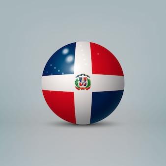 Bola ou esfera de plástico brilhante 3d realista com bandeira da república dominicana