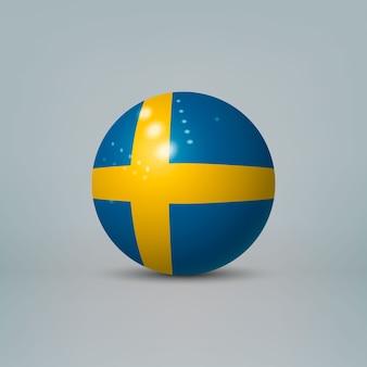 Bola ou esfera de plástico brilhante 3d realista com bandeira da suécia
