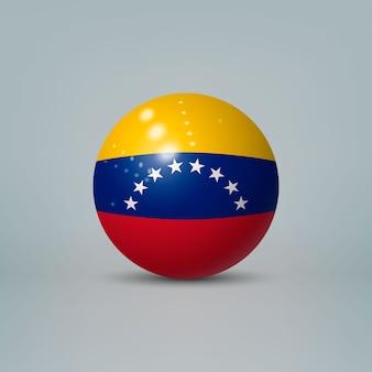 Bola ou esfera de plástico brilhante 3d realista com bandeira da venezuela