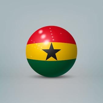 Bola ou esfera de plástico brilhante 3d realista com bandeira de gana