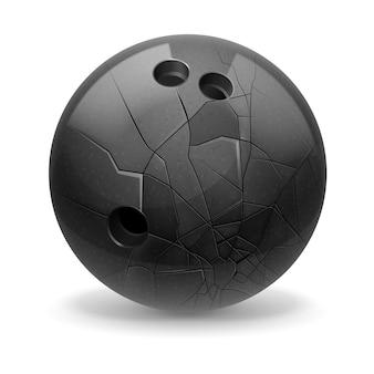 Bola preta quebrada com rachaduras. fundo branco.