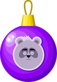 Bola roxa de natal com decoração de árvore de natal padrão de panda