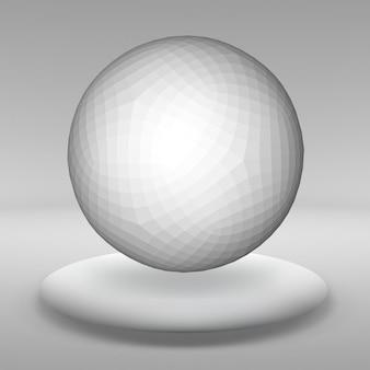 Bola suspensa feita de vários polígonos menores na grande sala vazia. o espaço expositivo é o objeto abstrato de forma esférica.