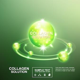 Bola verde de colágeno no fundo para modelo de pôster