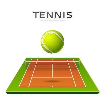 Bola verde realista no playground de tênis
