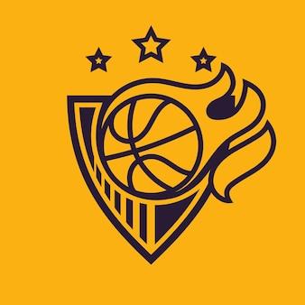 Bola voando em chamas. arte conceitual de basquete em estilo monocromático.