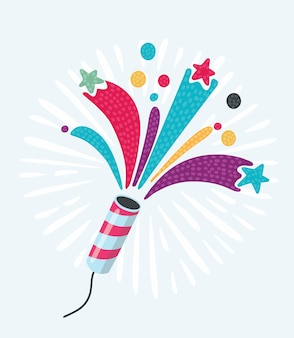 Bolacha de festa com confete e serpentina em fundo branco